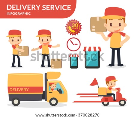 Delivery service. Vector flat design. - stock vector