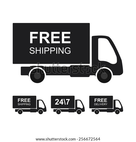 """Delivery sign or icon. Truck with """"Free shipping"""" text. - stock vector"""