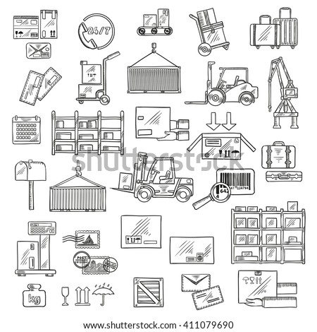 Delivery sketch symbols of forklift and hand trucks, warehouse scales, conveyor and racks with cardboard boxes and packages, parcels, letters and baggages, barcode, packaging signs, mailbox - stock vector