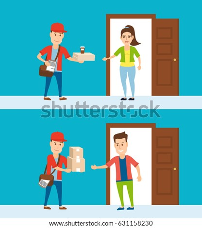delivery to home courier with boxes pizza and coffee . man and woman near the open