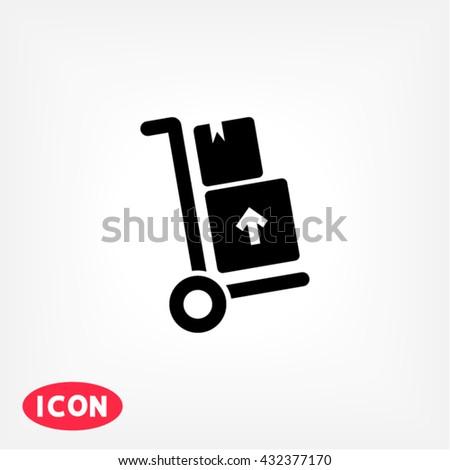 Delivery trolley Icon, delivery trolley icon flat, delivery trolley icon picture, delivery trolley icon vector, delivery trolley icon EPS10, delivery trolley icon graphic, delivery trolley icon object - stock vector