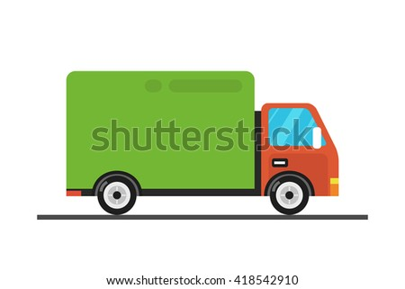 Delivery truck concept. Illustration of fast shipping concept. Truck van of delivery rides at high speed.