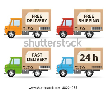 Delivery truck isolated on white background (side view) - stock vector