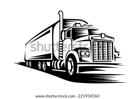 Delivery truck moving on road for transportation design or concept - stock vector