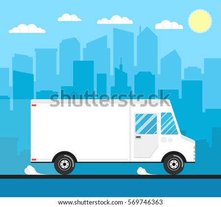 Delivery truck of delivery rides at high speed. City skyscrapers, clouds and sun on the background. Flat vector illustration.