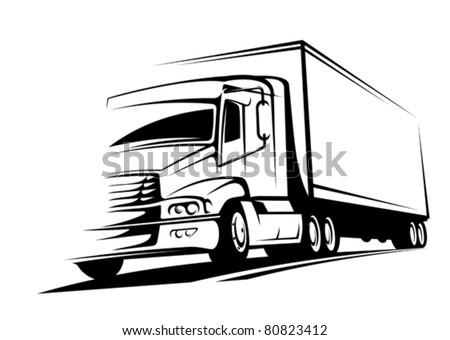 Delivery truck on silhouette style for transportation design. Jpeg version also available in gallery - stock vector
