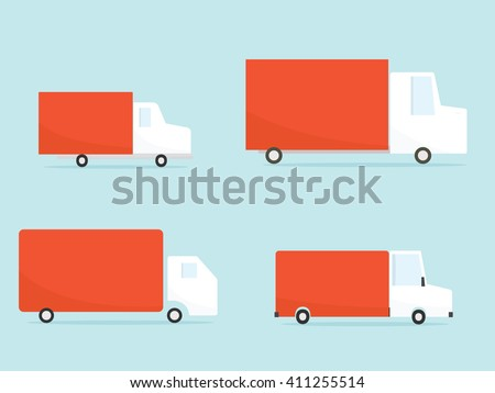 Delivery truck set. Vector image