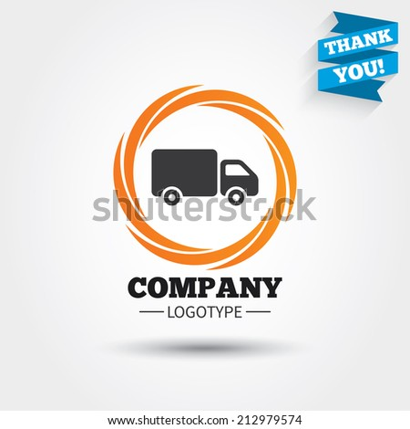 Delivery truck sign icon. Cargo van symbol. Business abstract circle logo. Logotype with Thank you ribbon. Vector - stock vector