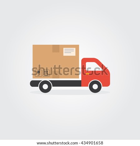 Delivery truck sign icon. Cargo van symbol. Flat truck web icon.Delivery service van, delivery truck, delivery car. Delivery box silhouette. Product goods shipping transport. Fast delivery truck - stock vector
