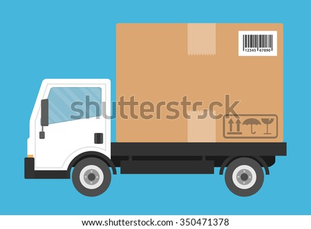 Delivery truck transporting a big cardboard package. Flat style - stock vector