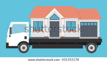 Delivery truck transporting a house. Moving company concept. Flat style - stock vector
