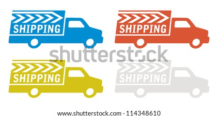 delivery truck with shipping sign - stock vector