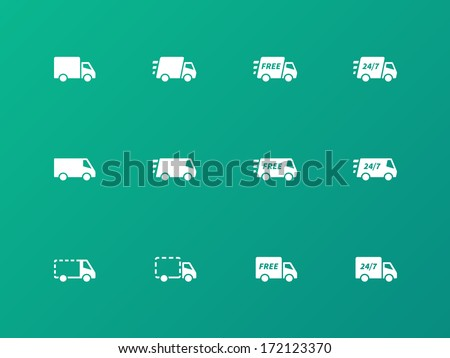 Delivery Trucks icons on green background. Vector illustration. - stock vector