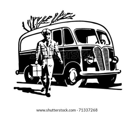 Delivery Van - Retro Ad Art Illustration - stock vector