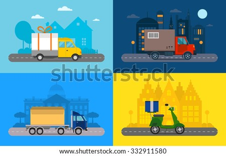 Delivery vector transport truck, van and motorcycle gift box pack. Delivery service van, delivery truck, delivery motorcycle. Delivery box silhouette. Product goods shipping transport. Fast delivery - stock vector