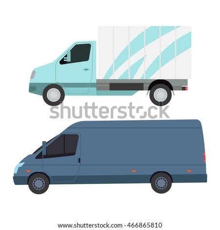 Delivery vector transport truck van isolated on white