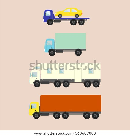 delivery vector trucks - evacuator, trailer, trucks - stock vector