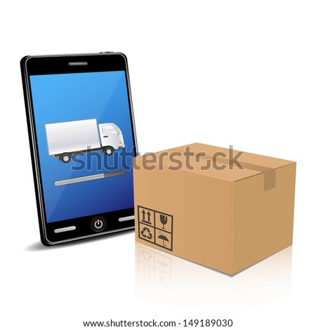 delivery with smart phone  - stock vector