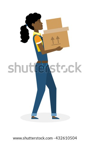 Delivery woman with parcel. Fast transportation. Isolated african american cartoon character on white background. Postwoman, courier with package. Concept of online shopping and moving. - stock vector