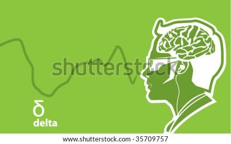 Delta Brainwave frequencies - stock vector