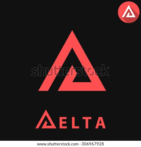 Delta letter logo template on dark background, d triangle sign, 2d vector, eps 8 - stock vector