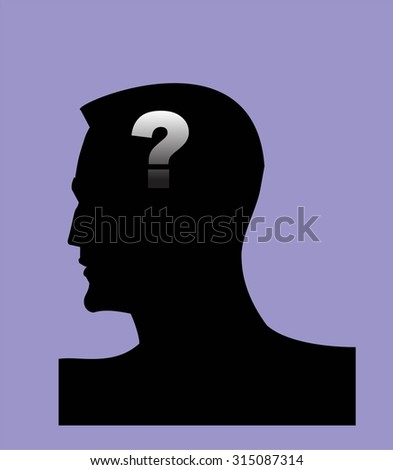 Dementia. Alzheimer. Head and question mark. Mental health symbol conceptual design. Side profile of a human face with the question mark inside as a symbol for neurology and dementia or memory loss. - stock vector