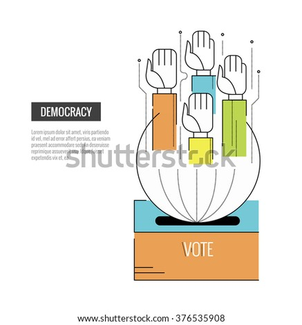Democracy concept. Hand of Voting. website banner, template, poster, icons. flat thin line design elements. vector illustration - stock vector