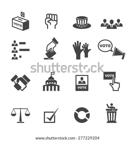 democracy icons, mono vector symbols - stock vector