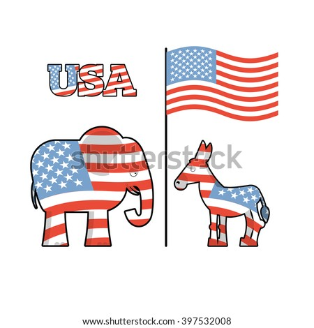 Democrat Donkey and Republican Elephant opposition. Political parties in United States. Illustration for election, debate in America. USA flag - stock vector