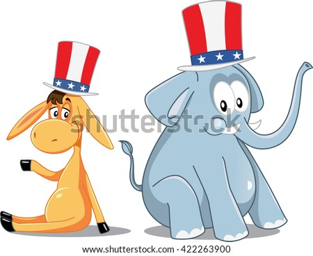 Democrat Donkey and Republican Elephant Vector Election Cartoon - Illustration of two cute animals with patriotic hats  - stock vector