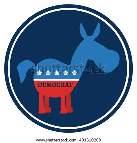 Democrat Donkey Cartoon Blue Circale Label. Vector Illustration Flat Design Style Isolated On White - stock vector