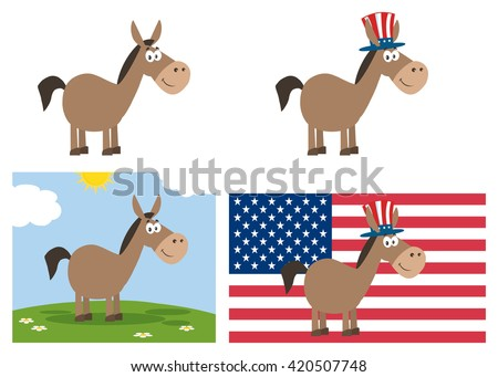 Democrat Donkey Cartoon Character. Set Vector Collection Isolated On White - stock vector