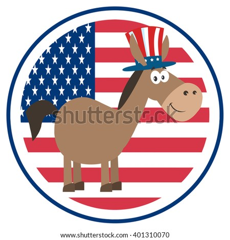 Democrat Donkey Cartoon Character With Uncle Sam Hat Over USA Flag Label. Vector Illustration Flat Design Style Isolated On White