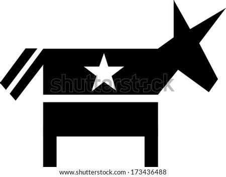 Democrat Vote For America silhouette - stock vector