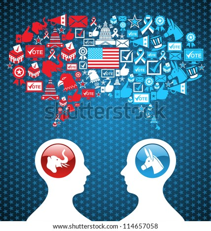 Democratic and  Republican social networks political rally. USA elections discussion: two men facing heads with icons speech bubbles. Vector file layered for easy manipulation and custom coloring. - stock vector