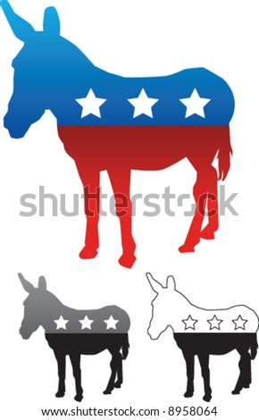 Democratic Party Donkey - Vector illustration with grayscale and black and white versions included. - stock vector