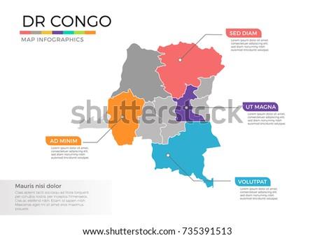 Democratic Republic Congo Map Infographics Vector Stock Vector ...