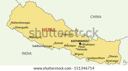 Democratic Republic of Nepal - vector map - stock vector