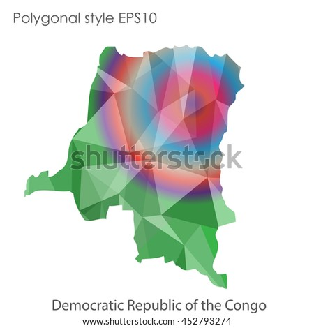 Democratic Republic of the Congo map in geometric polygonal style.Abstract gems triangle,modern design background. Vector illustration EPS10