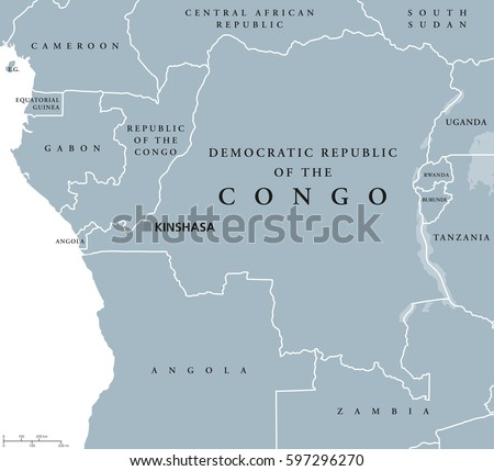 Democratic Republic Congo Political Map Capital Stock Photo Photo