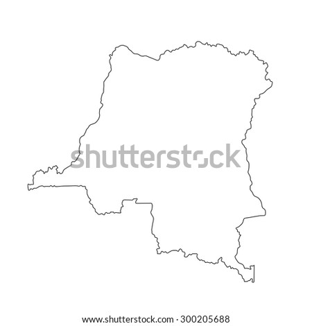 Democratic republic of the Congo vector map high detailed contour illustration isolated on white background.  - stock vector