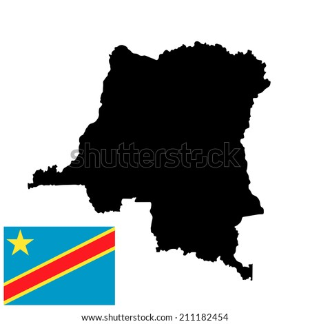 Democratic republic of the Congo vector map high detailed silhouette illustration isolated on white background.  Democratic republic of the Congo vector flag isolated. - stock vector