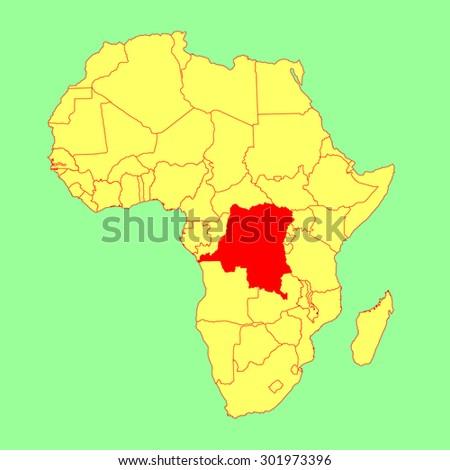 Democratic Republic Congo Vector Map Isolated Stock Vector 2018
