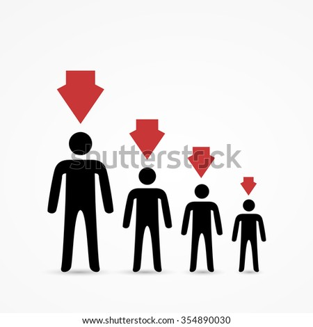 Demographic decline. Stick figures with red arrows - stock vector