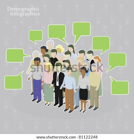 Demographic infographics. Crowd with speech bubbles - stock vector
