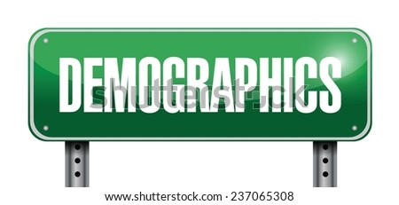 demographics street sign illustration design over a white background - stock vector