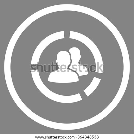 Demography Diagram vector icon. Style is flat circled symbol, white color, rounded angles, gray background. - stock vector