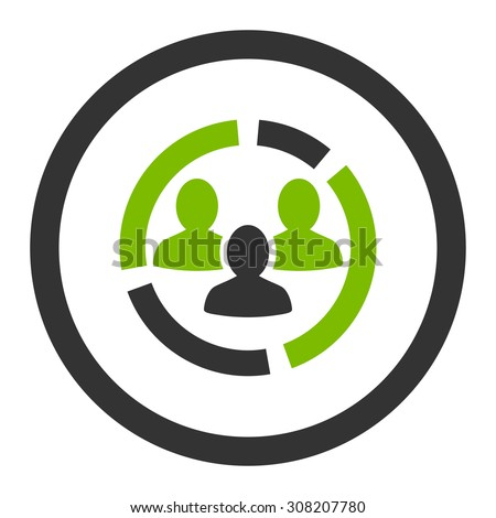 Demography diagram vector icon. This rounded flat symbol is drawn with eco green and gray colors on a white background. - stock vector