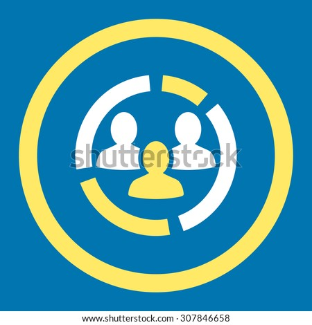 Demography diagram vector icon. This rounded flat symbol is drawn with yellow and white colors on a blue background. - stock vector