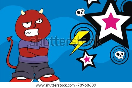 demon kid cartoon background in vector format